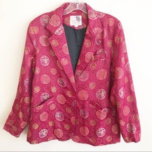 Vintage Dino Ricco Brocade Satin Asian Jacket L